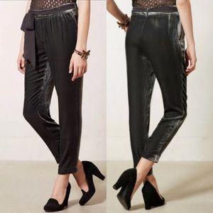 ELEVENSES• Anthropologie velvet trousers with belt
